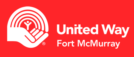 White logo red background