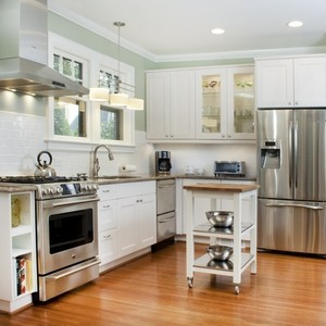 Kitchen superb big refrigerator with wonderful modern stove and chic laminated wood floor 17 stunning designing small kitchens 945x881 s300