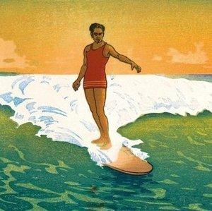 Vintage surfing art print s300