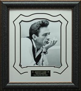 Johnny cash b w framed portrait s300