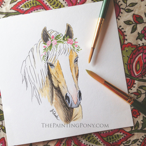 Original haflinger horse head  watercolor painting art for sale by artist s300
