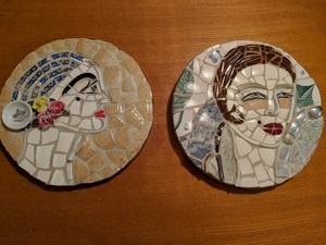Two handmade mosaic women s faces wall pieces  ready to hang s300