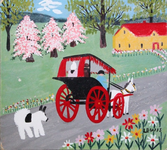 Maud lewis  horse and buggy  oil on beaverboard 12.5 x 11.5  s550