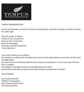Tempus transportation donation 2018 s300
