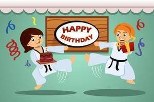 60904311 a vector illustration of kids birthday party banner with taekwondo theme s300