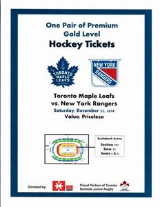 Leafs vs nyr 181222 tickets s300