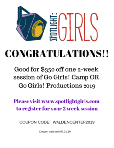 Go girls  camp certificate s300