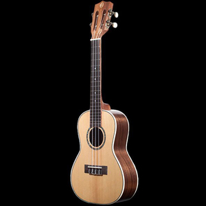 Ohana solid spruce and walnut concert ukulele ck 70w front s s300