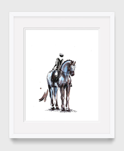 Dressage watercolor paper framed 13x16 s300