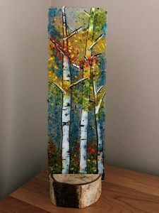 Fused glass standing art piece by kathi d dougherty  2 s300