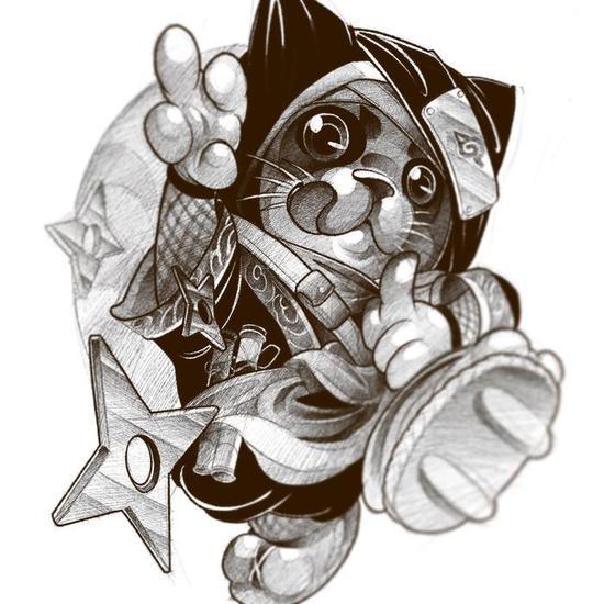 Ninja Cat by @myke_chronicink