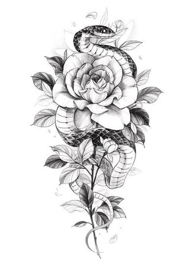Snake and Floral Piece by @_janetho