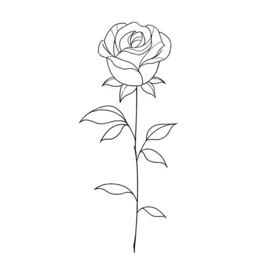 Single Linework Rose by @anqiixxwuu